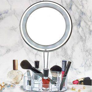 LED Vanity Light Mirror & Cosmetic Organizer Base